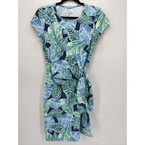 J McLaughlin Blue Green Palm Print Tie Side Dress